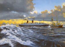 "SS Ile de France French Line CGT Ocean Liner Painting Art Print - 14"" Print"
