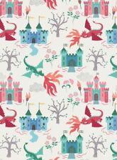 Dragons: Dragon Castle on Cream Cotton Fabric