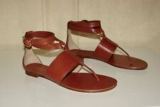 NIB Michael Kors Collection Candice sz 7.5/38 luggage brown t-strap sandals