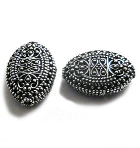 4 PCS 23X16X9MM BALI FILIGREE BEAD ANTIQUE STERLING SILVER PLATED 738 FUL-464