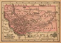 1888 Miniature Antique MONTANA State Map Rare Size Vintage Map of Montana 8778