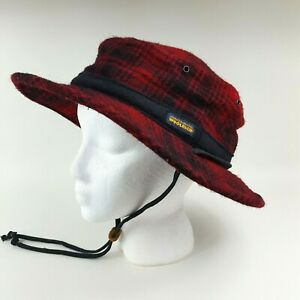 Woolrich Red Buffalo Plaid Wool Felt Boonie Size S/M Winter Hiking Hat Cap