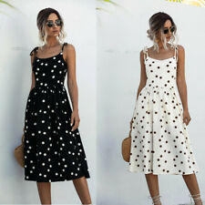 Women Midi Dress Dresses Sundress Polka Dot Sleeveless Camisole Tank Summer UK