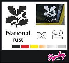 2 x NATIONAL RUST Car Stickers Decals Funny Classic Rat Look VW DUB Mini Trust