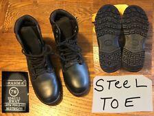 New ! BRAHMA Swat Black Leather Boots Steel Toe Slip & Oil Resistant Size: 7 W