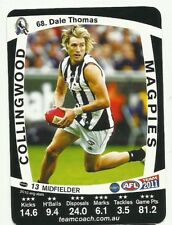 2011 AFL TEAMCOACH COLLINGWOOD MAGPIES DALE THOMAS 68 COMMON CARD free post