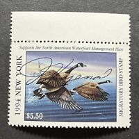 WTDstamps - 1994 NEW YORK - State Duck Stamp - Mint OG NH **ARTIST SIGNED**