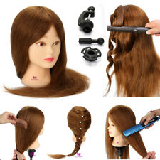 """Salon 20"""" 100% Real Human Hair Training Head Styling Mannequin Doll + Clamp"""