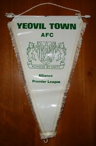 CLASSIC YEOVIL TOWN AFC FOOTBALL TEAM PENNANT IN GOOD USED CONDITION ~ 1980's