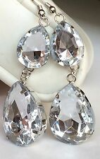 Silver Plated Jeweled Cut Simulated Diamond Earrings Clear Tear Drop USA Seller