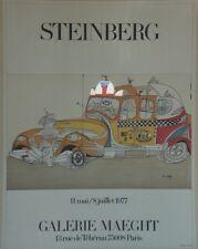 """""""EXPOSITION STEINBERG 1977"""" Affiche originale entoilée Sérigraphie 64x83cm"""