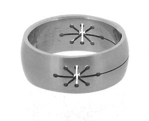 Stainless Steel Ring with Star Pattern in 8 Sizes R5