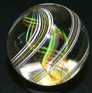 "STEVEN MASLACH GLASS MARBLE/.920""-RARE 5 COLOR LATTICINIO-LIME,YELLOW,BURGUNDY +"