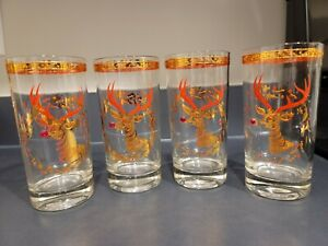 4 Culver RUDOLPH REINDEER hiball glasses red jewel nose Gold TRUE AUCTION!