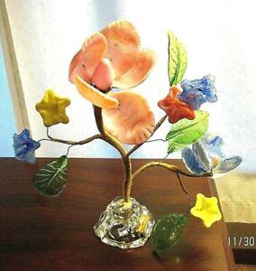 VENETIAN CZECH lamp Glass Flowers & Leafs Antique Unique item for parts Art Deco