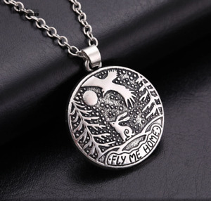 Rabbit/Hare Eagle 'Fly Me Home' 'Moon Gazing Hare Antique Silver Plated Necklace