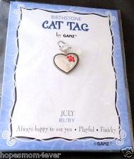 Nip Ganz Birthstone Cat Tag Charm Heart w/ Paw Shape Stones July/Ruby *Bogo 50%