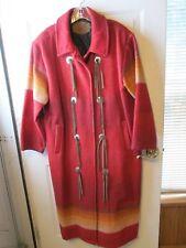 Vtg Woolrich Southwest Aztec Brick Red Wool Long Blanket Coat Made USA Womens M