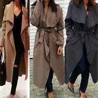 █ █ Women Winter Italian Fashion Waterfall Belted Trench Long Sleeve Coat Jacket