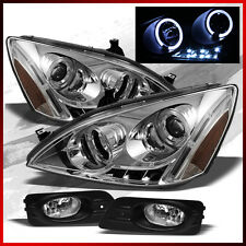 Fits 06-07 Honda Accord 4 Door Halo LED Projector Headlights + Fog Lights+Bulbs