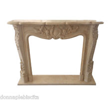 Fireplace Marble Travertine Fireplace Art Antique Old Style Classic Louis XVI