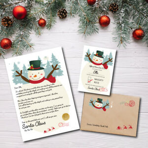 """Personalised Snowman Christmas """"Nice"""" List Letter & Certificate 2021 From Santa"""