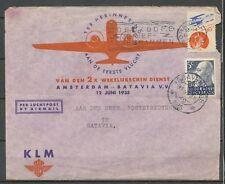 5+3c RODE KRUIS Bijfrankering op 1e VLUCHT A'DAM-BATAVIA 12.JUNI.1935      Da565