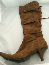 Unbranded Faux Suede Zip Kitten Heel Boots for Women