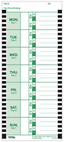Office Weekly Format Attendance Named Days Thermal Print Time Cards Single Sided