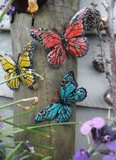 Butterflies - 3x Colourful Metal Garden Ornaments, Fence, Shed or Wall Art