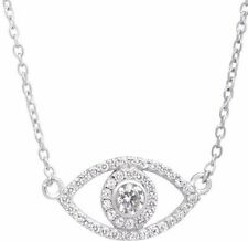 Brand New Sterling Silver & White Cubic Zirconia Evil Eye Pendant Necklace