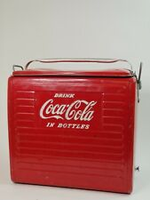 Drink Coca Cola 1950s Ice Chest Cooler  Vintage Metal Signs Antique Collectible