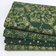 Paquete De Navidad 4 FQ Verdes Y Dorado Stars & Stripes 100% tela de algodón (Nº 36)