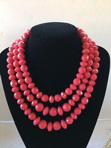Sugarfix By Baublebar Multi Strand Beaded Statement Necklace Dark Pink NWOT