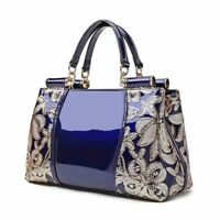 Womens Fashion Patent Leather Floral Handbag Tote Purses Shoulder Messenger Bags