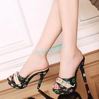 Women Peep Toe Lady High Stiletto Heel Pull On Slipper Shoes Sandals New 2020