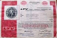 Stock certificate Ltv Ling-Temco-Vought, Inc 1970 State of Delaware