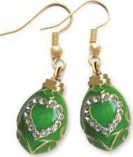 Faberge Egg Earrings with Heart 1.6 cm green #0854