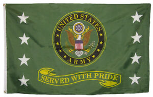 US Army Served With Pride Flag 3x5 ft USA Vet Veteran Retired Military Service