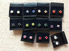 WHOLESALE-40 pairs of 0.5 cm colour -rhinestone diamonte stud earring.UK made.