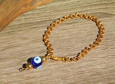 Nazar Evil Eye Bracelet for Protection with Adjustable Quality Solid Brass Chain