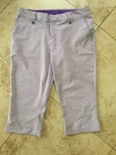 Under Armor Golf Active Pants Purple White Striped Capri Size 10 EUC
