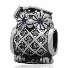 Sterling Silver Owl European Style Charm for Necklace or Bracelet