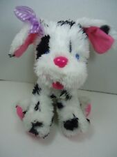 "9"" Puppy Alive Plush Dalmatian Dog Black White Purple Bow 1991 Kenner Baby Alive"