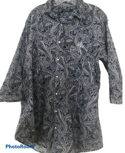 Lauren Ralph Lauren Mens Sz XL Paisly Print Three Quarter Length Sleeve Shirt
