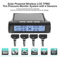Solar Wireless Auto LCD TPMS Reifendruckkontrollsystem mit 4 Interner Sensor Neu