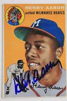 HANK AARON Autographed Signed 1954 TOPPS #128 Rookie Card JSA Letter 16L