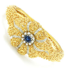 Vintage Certified NO HEAT Sapphire & Diamond Bangle 18K Gold 2.35ctw