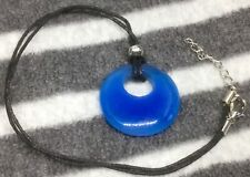 Blue Agate Donut Pendant On Cord Necklace Hippy Beach Summer Natural Stone J305