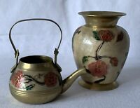 Vintage Pair Matching Enamelled Brass Made in India Urn Vase & Kettle (no lid)